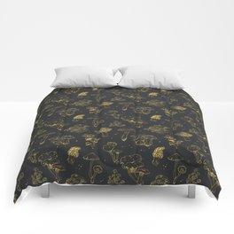 Golden mushrooms Comforters