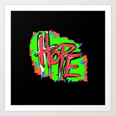 Hope (retro neon 80's style) Art Print