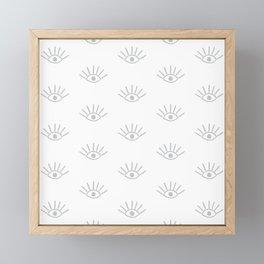 Light Grey Evil Eye Pattern Framed Mini Art Print