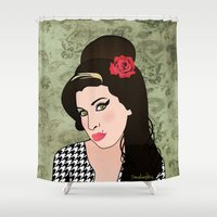 amy pond Shower Curtains featuring Amy  by Pendientera