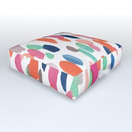 Watercolor Dashes Outdoor Floor Cushion