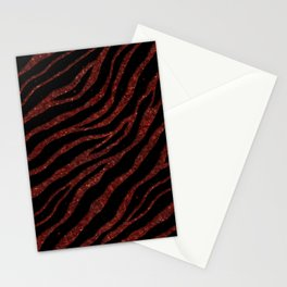 Ripped SpaceTime Stripes - Glitter Red Stationery Cards