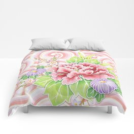 Pink Kimono Bouquet Comforters