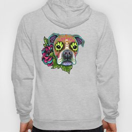 Boxer in White Fawn - Day of the Dead Sugar Skull Dog Hoody