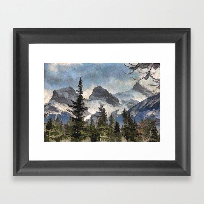 The Three Sisters - Canadian Rocky Mountains Gerahmter Kunstdruck
