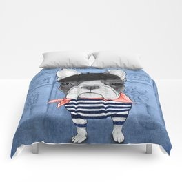 Frenchie with Arc de Triomphe Comforters