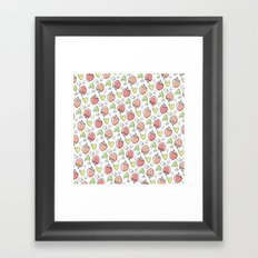 Pattern: Strawberries & Hearts Framed Art Print