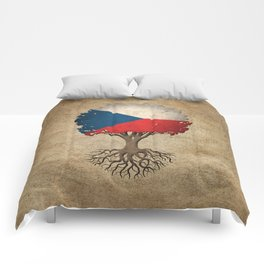 Vintage Tree of Life with Flag of Czech Republic Comforters