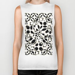 black and white circles in squares Biker Tank