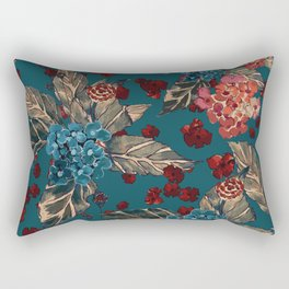 Deep moody floral watercolor - dark red,  rich dark blue and brown Rectangular Pillow