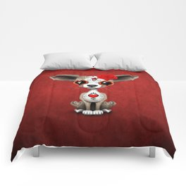 Red Day of the Dead Sugar Skull Chihuahua Puppy Comforters