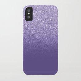 Modern ultra violet faux glitter ombre purple color block iPhone Case