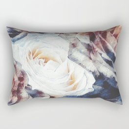 Roses print in retro drawing style watercolor digital Rectangular Pillow