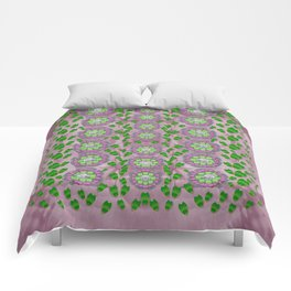 ivy and  holm-oak with fantasy meditative orchid flowers Comforters