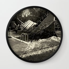 Sinking into the Pool Black and White Wall Clock
