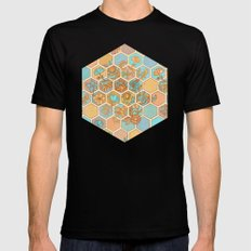 Golden Honeycomb Tangle - hexagon doodle in peach, blue, mint & cream Black Mens Fitted Tee MEDIUM