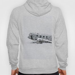 Plane Wreck in Iceland in Winter - Landscape Photography Minimalism Hoody