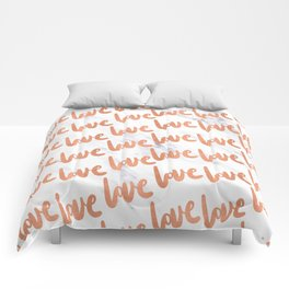 Love Rose Gold Marble Comforters