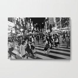 Tokyo Shinjuku Japan Black And White Metal Print