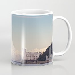 Miramar Castle with Italian Alps in background. Trieste Italy Coffee Mug