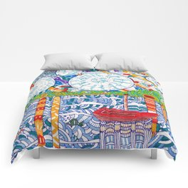 Abstract doodle Starry Night Comforters