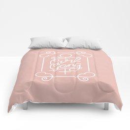 Feminist Girl Gang Pink Ornate Art Nouveau Calligraphy Comforters