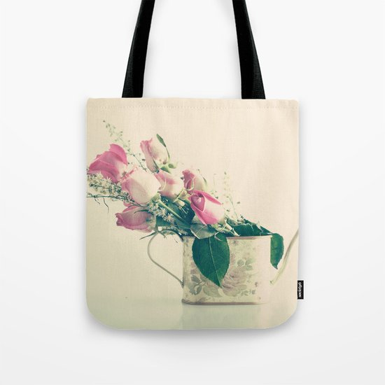 Shabby Chic Roses - Retro Vintage Pink Floral Photography on beige background Tote Bag