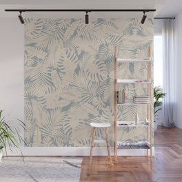 Tropical Plants in Ivory and Vintage Blue Wall Mural