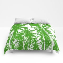 Palm Trees Design in Green and White Comforters