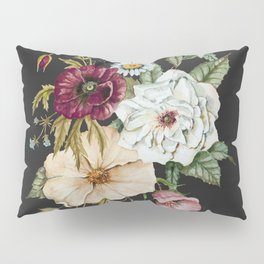 Colorful Wildflower Bouquet on Charcoal Black Pillow Sham