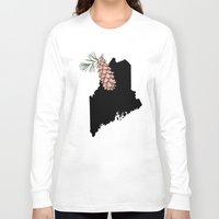 maine Long Sleeve T-shirts featuring Maine Silhouette by Ursula Rodgers