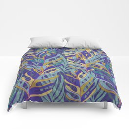 Tropical Leaves, blue and mustard pattern Comforters