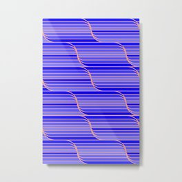 Geo Stripes - Cobalt Blue Metal Print