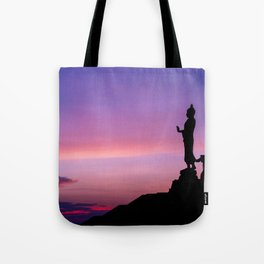 Silhouette of big statue of Buddha Tote Bag