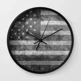 US flag, Old Glory in black & white Wall Clock