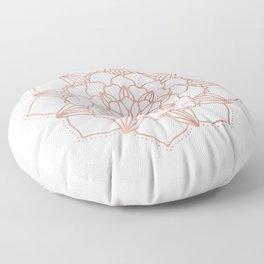Rose Gold Mandala Flower on White III Floor Pillow