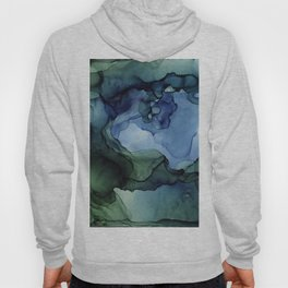 Blue Green Waves Abstract Ink Painting Hoody