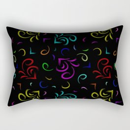 Multicolored hieroglyphs in the form of sketchy houses in neon design on a black background. Rectangular Pillow