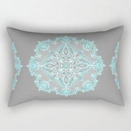 Teal and Aqua Lace Mandala on Grey Rectangular Pillow