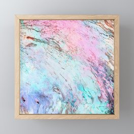 Abstract modern  pink teal lavender watercolor marble Framed Mini Art Print
