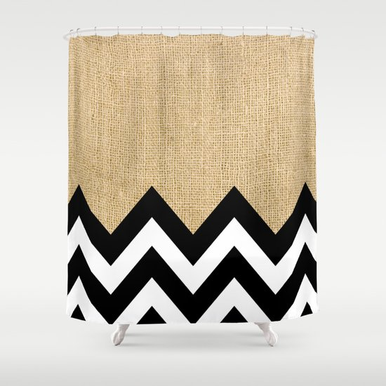 Burlap and Black Chevron Shower Curtain