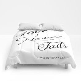 1 Corinthians 13:8 - Love Never Fails - Marriage Bible Wedding Verse Art Print Comforters
