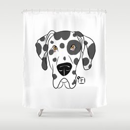 Harlequin Great Dane Face Shower Curtain