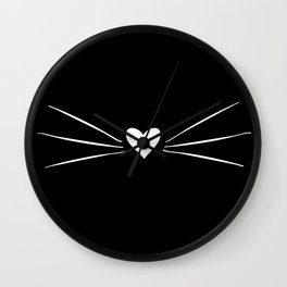 Cat Heart Nose & Whiskers White on Black Wall Clock