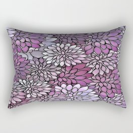 Stain Glass Floral Abstract - Purple-Lavender Rectangular Pillow