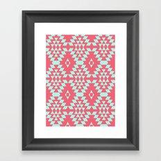 aztec Inspired Pattern Teal & Pink Framed Art Print