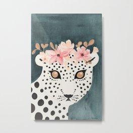 Flower Crown Leopard Metal Print