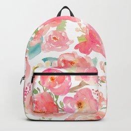 Pink Peonies Watercolor Pattern Backpack