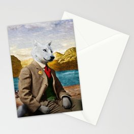 Mr. Wolf Relaxing at the Lake Stationery Cards