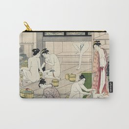 Interior of a Bathhouse by Torii Kiyonaga - Japanese Woodblock Carry-All Pouch